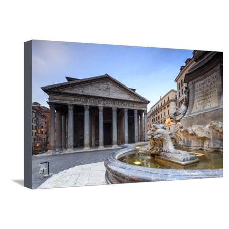 View of Old Pantheon a Circular Building with a Portico of Granite Corinthian Columns and Fountains Stretched Canvas Print Wall Art By Roberto -