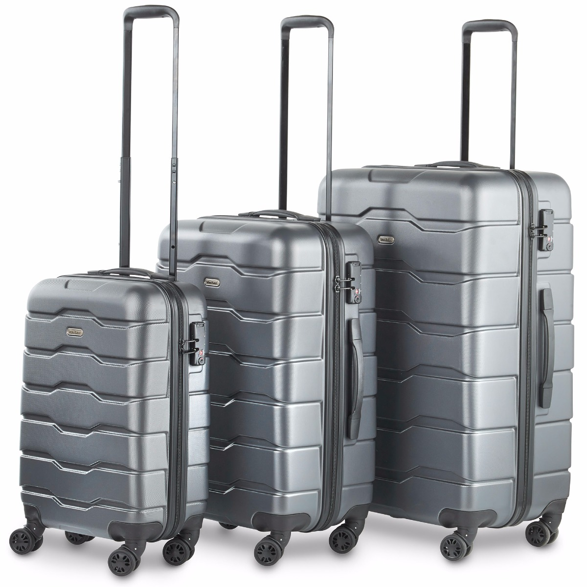 VonHaus Premium Gray 3 Piece Lightweight Travel Luggage Set - Hard Shell Suitcase with 4 Spinner Wheels, TSA Integrated Lock, Extendable Handle - Small, Medium and Large