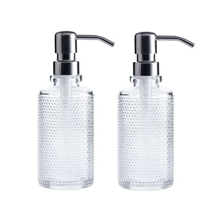 10-Ounce Clear Glass Round Dispenser Bottles with Stainless Steel Pumps (2 Pack) Ideal for Essential Oils, Lotions, Liquid Soaps Liquid Soap Dispenser Glass