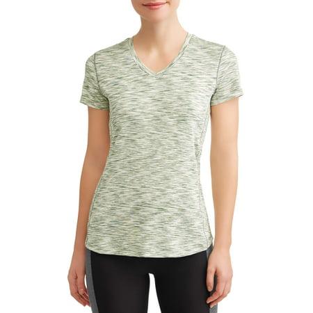 N.Y.L Sport Women's Active V-Neck Short Sleeve Spacedye Performance T-Shirt