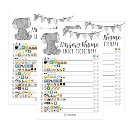 25 Elephant Emoji Nursery Rhyme Baby Shower Game Party Ideas For Pictionary Quiz, Boys Girls Kids Men Women and Couples, Cute Classic Bundle Pack Set Gray Gender Neutral Unisex Fun Coed Guessing Card - 50 Party Ideas