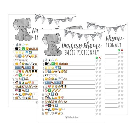 25 Elephant Emoji Nursery Rhyme Baby Shower Game Party Ideas For Pictionary Quiz, Boys Girls Kids Men Women and Couples, Cute Classic Bundle Pack Set Gray Gender Neutral Unisex Fun Coed Guessing Card - Halloween Dance Game Ideas