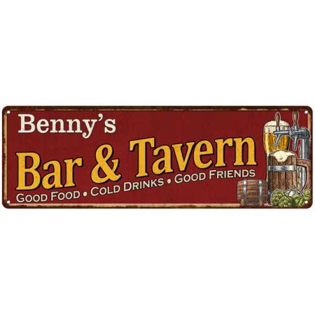 Benny's Bar and Tavern Red Chic Sign Man Cave Décor Gift 6x18 Sign M6180002125 - Tavern Man