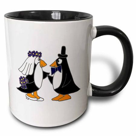 3dRose Funny Penguins Bride and Groom Wedding Cartoon - Two Tone Black Mug, 11-ounce