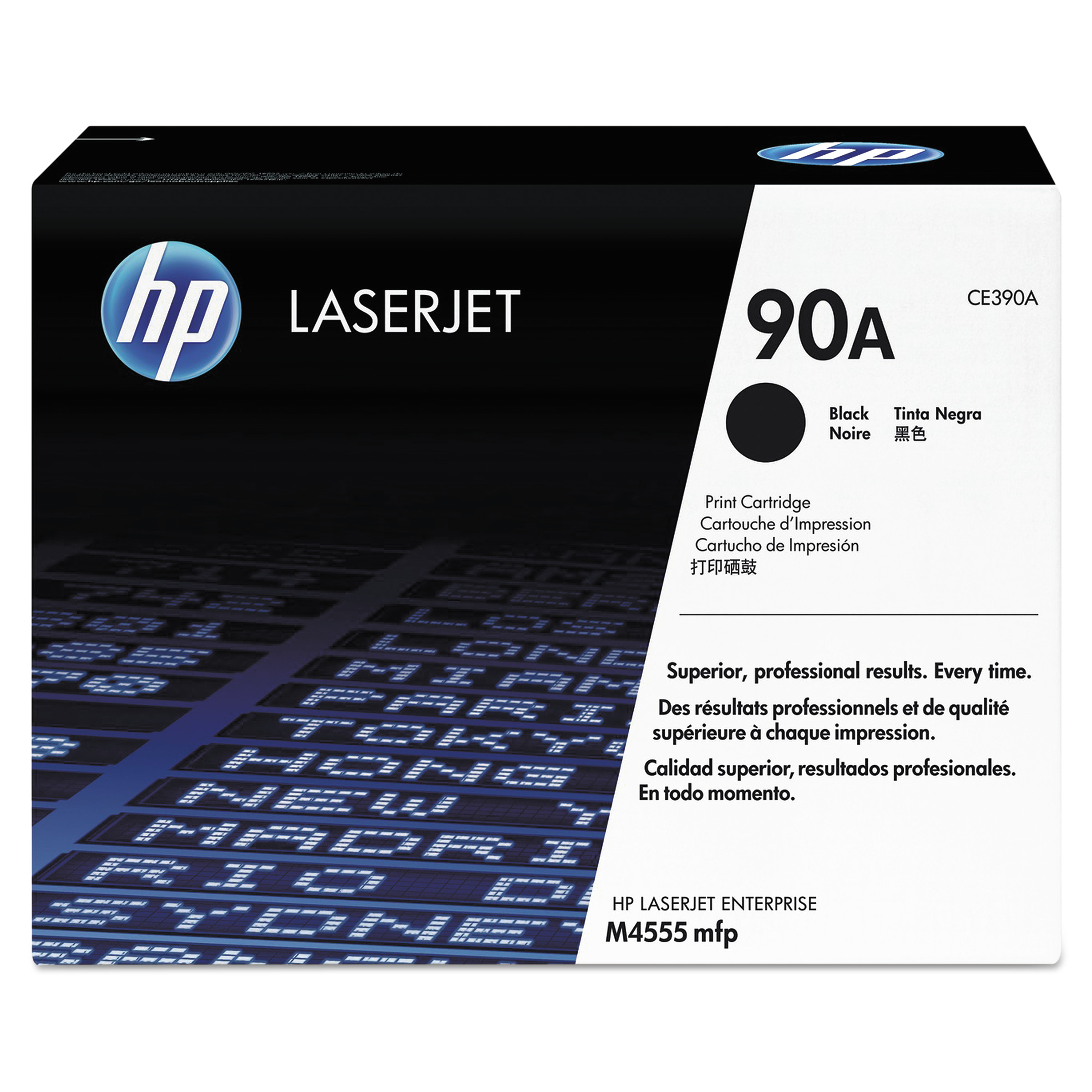 HP 90A, (CE390A) Black Original LaserJet Toner Cartridge -HEWCE390A