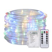 12M/39.4Ft 7.2W 120 LED Rope Light Multi-color Battery Powered Operated with Remote Control Combination In wave Sequential Slo-glo Chasing/flash Slow Fade Twinkle/flash Steady on 8 Different Effects