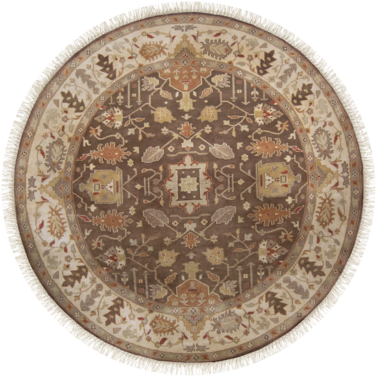 8' Kahverengi Taupe Beige and Biscotti Round Wool Area Throw Rug