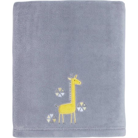 Little Love by NoJo Giraffe Time Applique Blanket, Yellow - Little Giraffe Muslin