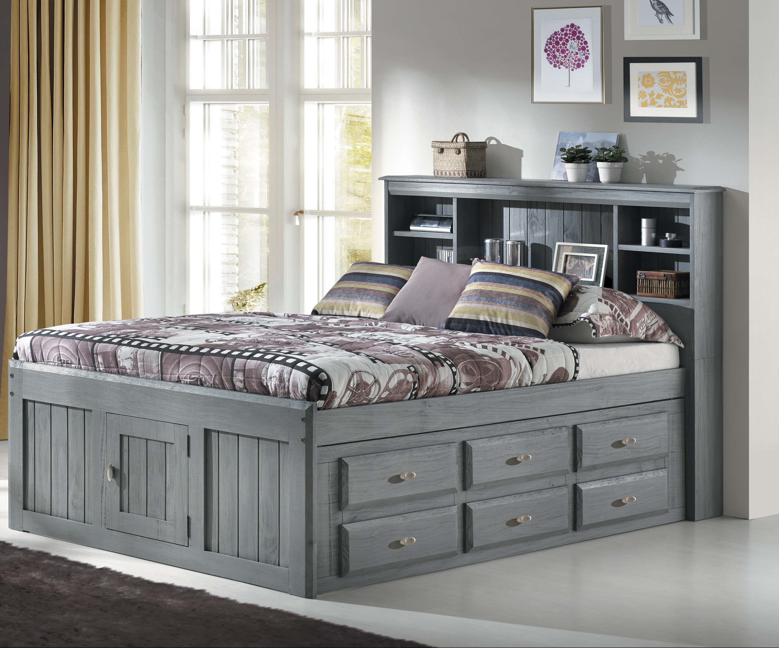 American Furniture Classics Solid Pine Full Captains Bookcase Bed With 6 Drawers In Charcoal