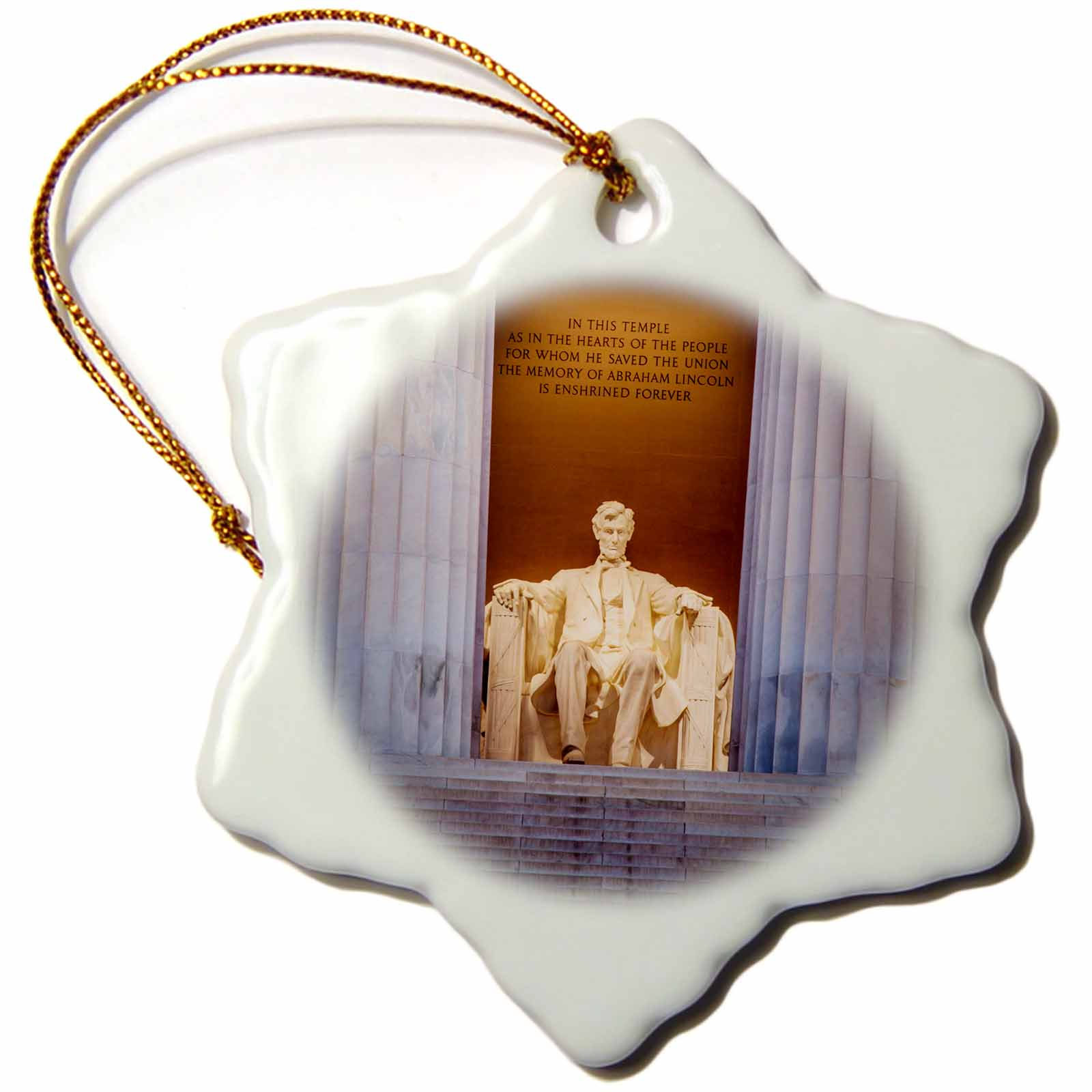 3dRose The Lincoln Memorial, Washington DC, USA., Snowflake Ornament, Porcelain, 3-inch