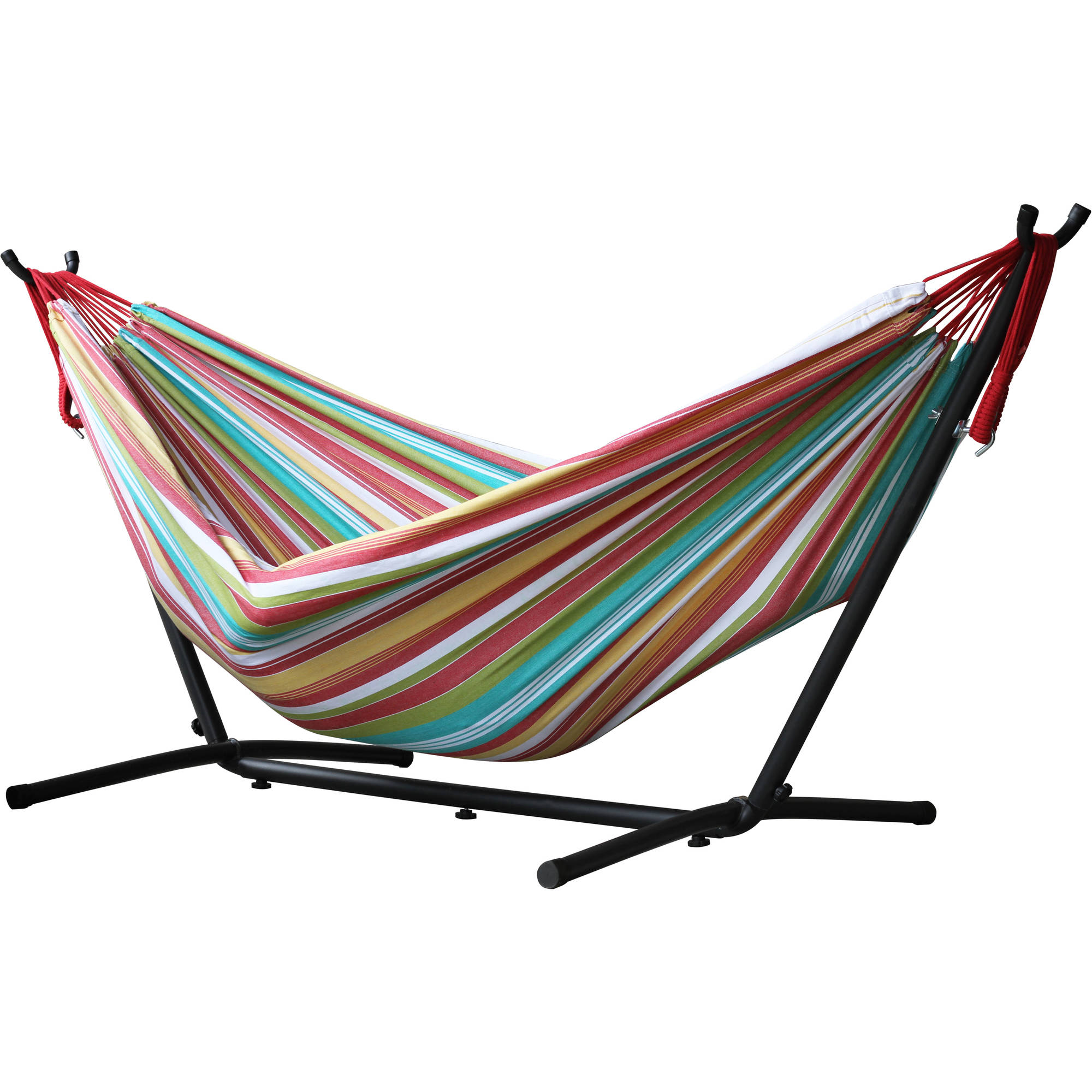 Vivere's Combo Double Hammock with Stand, Salsa, 9 ...