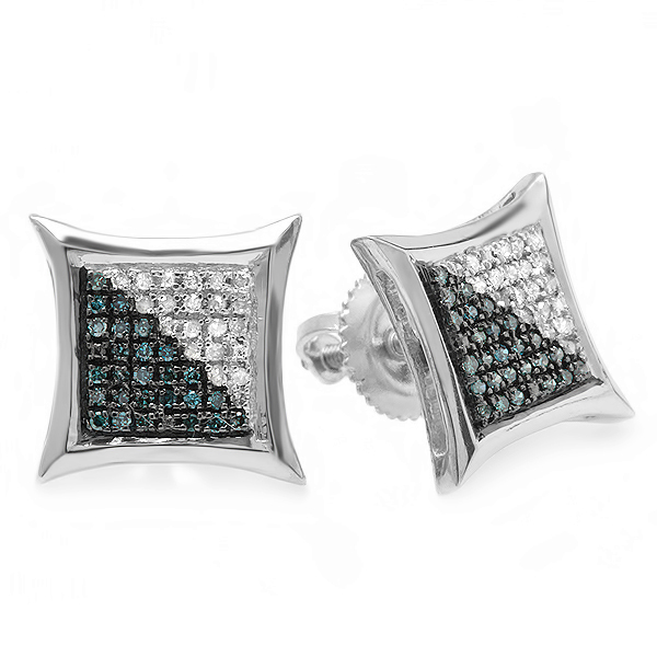 0.20 Carat (ctw) White & Blue Round Diamond Micro Pave Setting Kite Shape Stud Earrings 1/4 CT