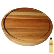 """HomeProShops Round Wood Butcher Block Cutting Board - 1-1/2"""" T x 15"""" ROUND - w Juice Groove Channel 1 Side and John Boos MYSB Mystery Oil 16 oz Bottle Included - Solid Maple Reversible"""
