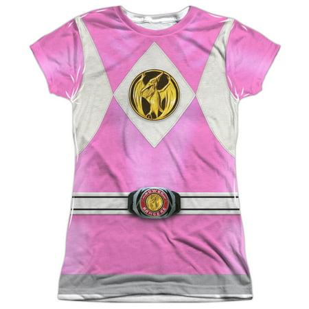 Mighty Morphin Power Rangers Pink Ranger Emblem Juniors Sublimation Shirt
