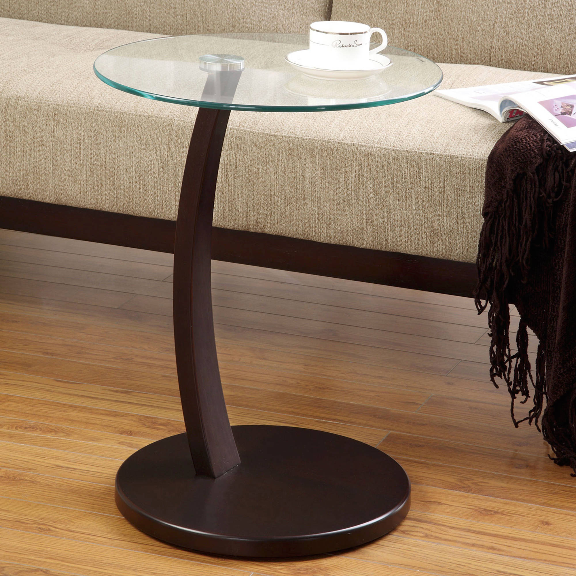 Coaster Round Accent Table, Cappuccino Finish with Glass Top