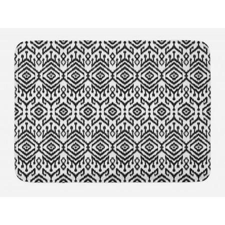 Black And White Bath Mat Monochrome Ikat Pattern Bohemian Ethnic Authentic Chevron Modern Scribble