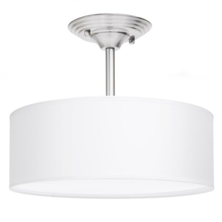 Best Choice Products 13in Semi-Flush Ceiling Mount 2-Bulb Pendant Light Fixture Chandelier for Kitchen, Living Room, Bedroom - Brushed (Best Lighting For Office Space With No Windows)