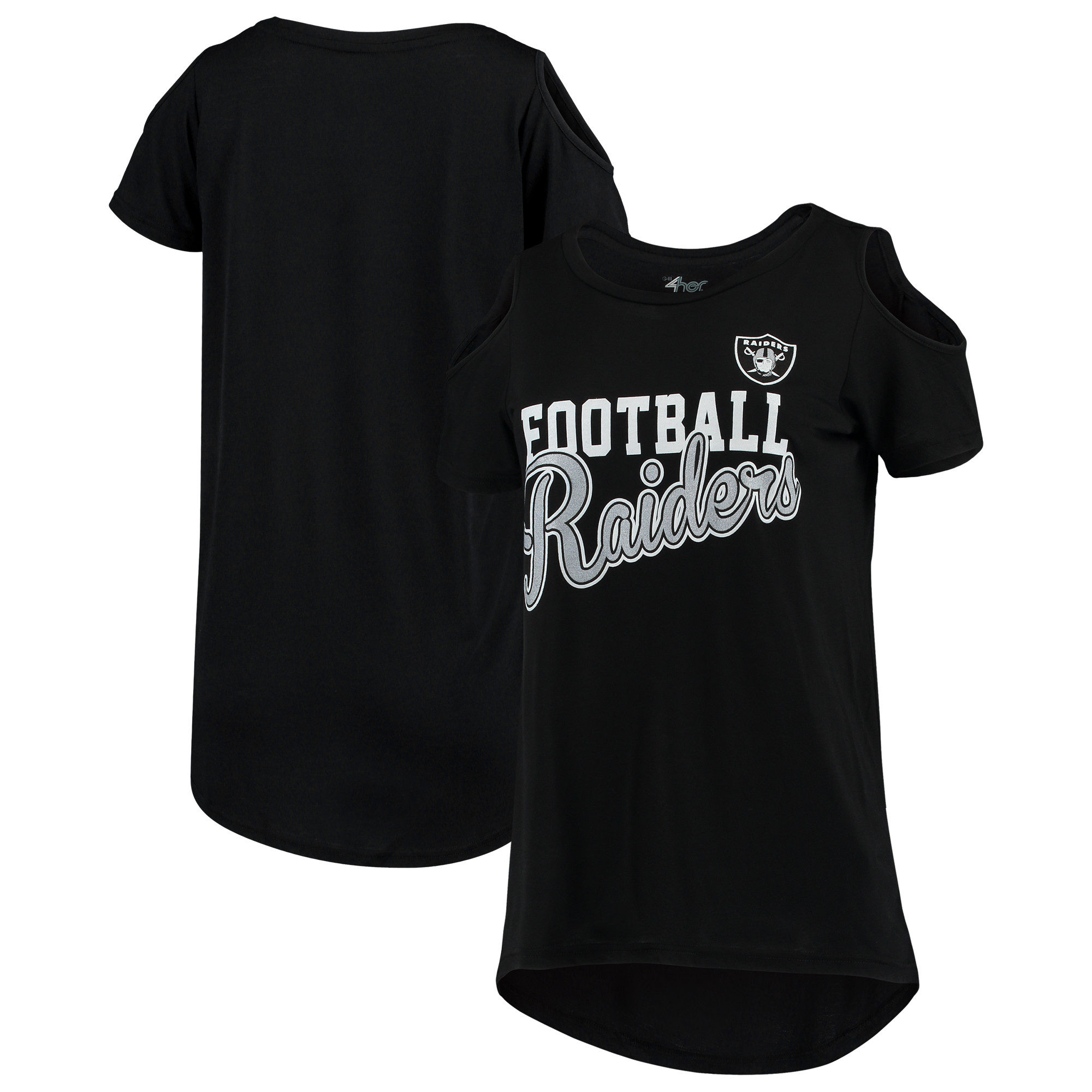Oakland Raiders G-III 4Her by Carl Banks Women's Make the Cut Scoop Neck Cold Shoulder T-Shirt - Black
