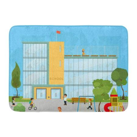 GODPOK Cartoon Building School Kids Uniform Kindergarten Yard Rug Doormat Bath Mat 23.6x15.7 inch (Kindergarten Rugs)