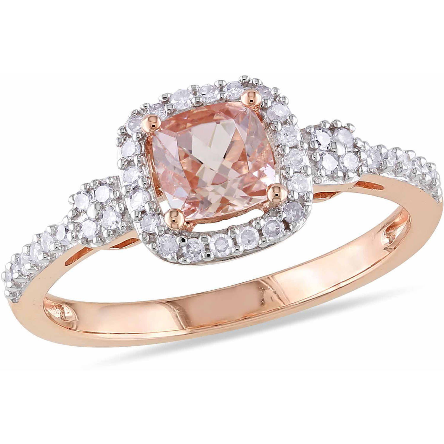 Tangelo 3 5 Carat T.G.W. Cushion-Cut Morganite and 1 5 Carat T.W. Diamond 10kt Pink Gold Halo Ring by Delmar Manufacturing LLC