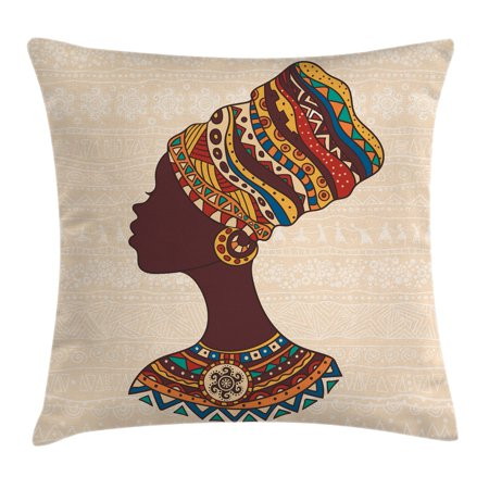 Tribal Decor Throw Pillow Cushion Cover, African Woman in Traditional Ethnic Fashion Dress Portrait Glamour Graphic, Decorative Square Accent Pillow Case, 18 X 18 Inches, Cream Brown, by Ambesonne