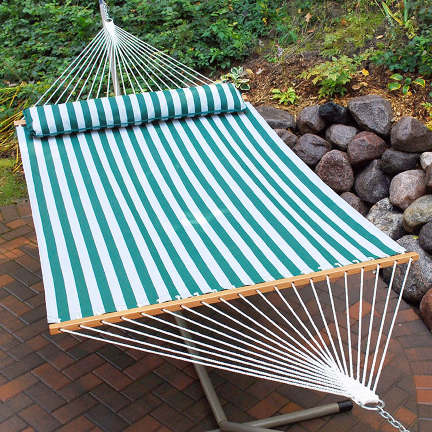 "82"" x 55"" Green and White Striped Quick Dry Double Hammock with Pillow"