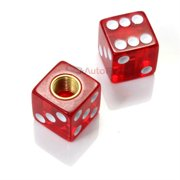 SmallAutoParts Clear Red Dice Valve Caps - Set Of 2