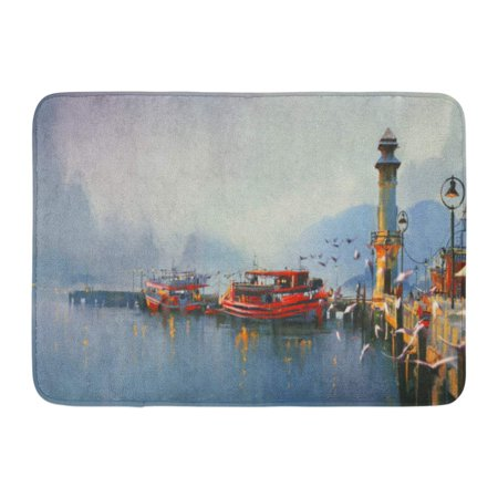 Watercolor Harbor - GODPOK Acrylic Blue Scenery Fishing Boat in Harbor at Morning Watercolor Painting Style Colorful Landscape Water Rug Doormat Bath Mat 23.6x15.7 inch