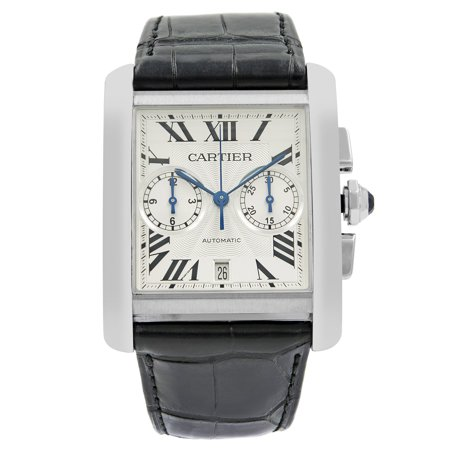 Cartier Tank MC Silver Guilloche Roman Dial Steel Automatic Mens Watch W5330007 Tank Silver Dial
