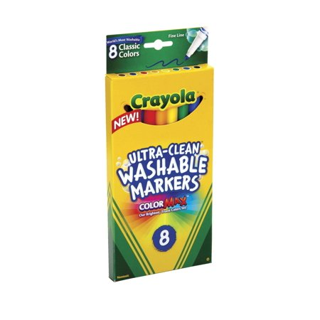Crayola Washable Markers  Fine Point  Classic Colors  8 Pack
