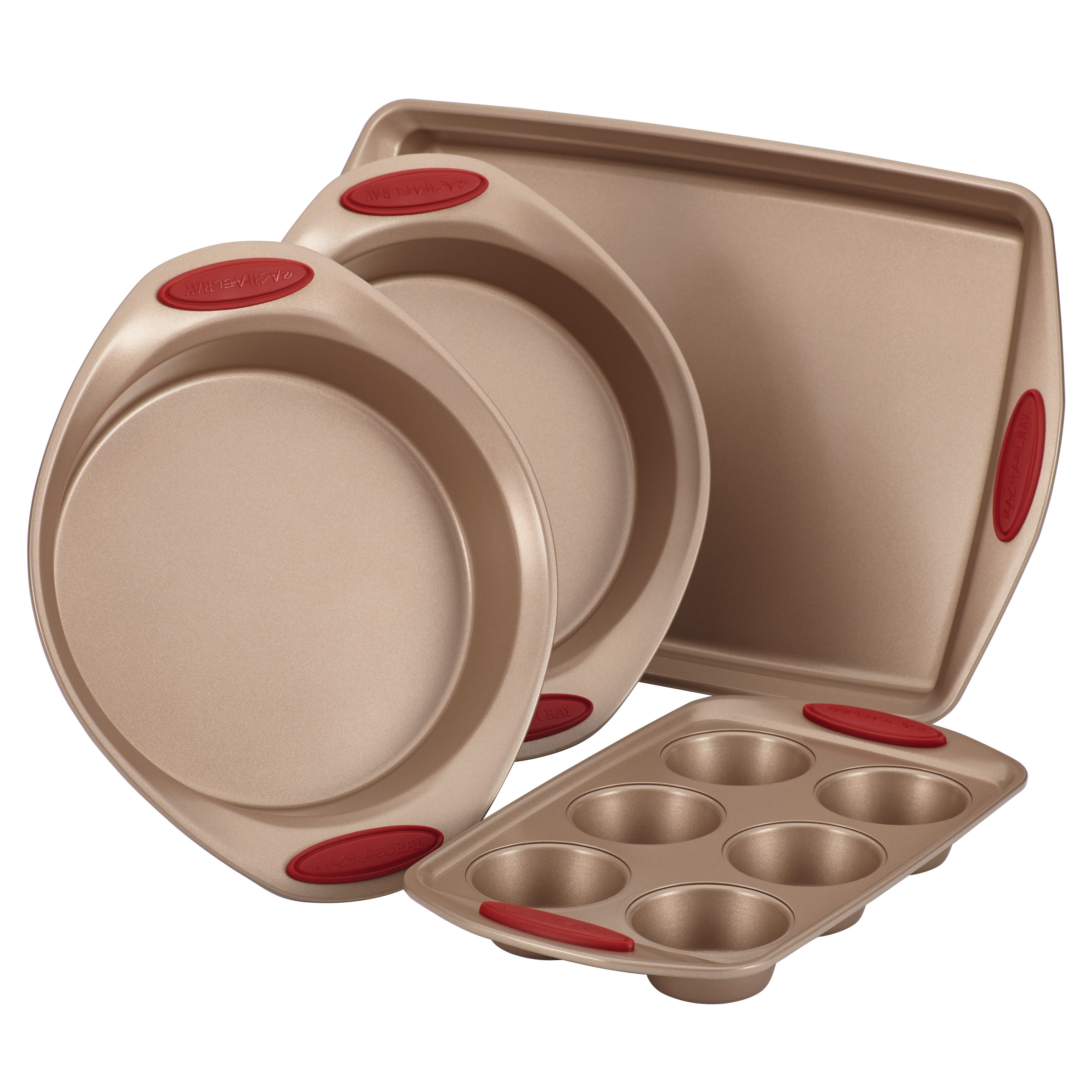 Rachael Ray Cucina Nonstick Bakeware 4-Piece Set, Latte Brown with Cranberry Red Handle Grips