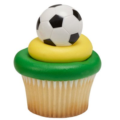 24pack 3D Soccer Cupcake / Desert / Food Decoration Topper Rings with Favor Stickers & Sparkle Flakes - Soccer Cupcake Toppers
