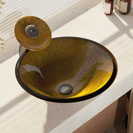 Ren  Glass Circular Vessel Bathroom Sink with Faucet