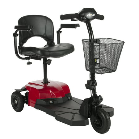 (Drive Medical Bobcat X3 Compact Transportable Power Mobility Scooter, 3 Wheel, Red)