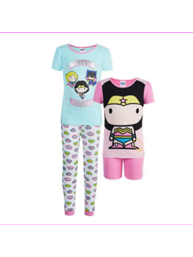 Komar Kids Girls 4 Piece Pajama Sleepwear Set  3T/Justice League