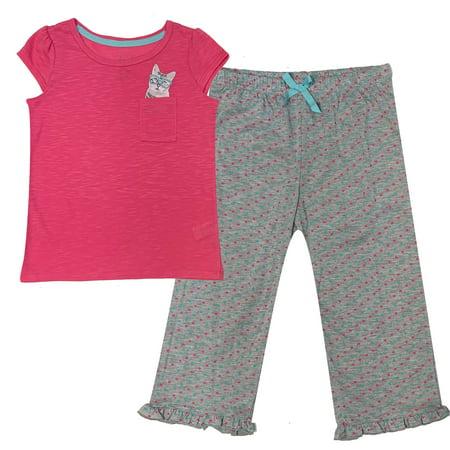 Popular Girl's Short Sleeve and Crop Pant Pajama Sleepwear Set