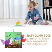 AUTCARIBLE Baby Early Education Cloth Book 0-1 Years Old Tear Resistant English Cognition Toy Cloth Book with Sounding Paper