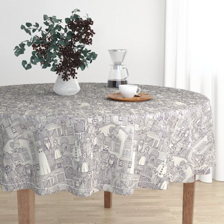 Round Tablecloth Horror Fabric Vintage Retro Scary Monsters Cotton Sateen