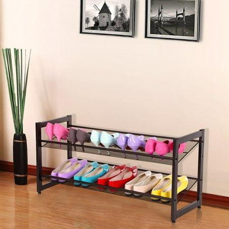 Ktaxon 2-Tier Metal Shoe Rack Wall Mesh Shelf Closet Organizer Storage Stand ()