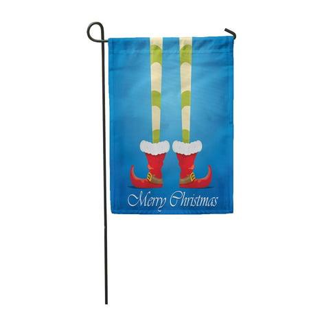 LADDKE Creative Merry Christmas Cartoon Elf Legs and Greeting Calligraphic Garden Flag Decorative Flag House Banner 12x18 inch