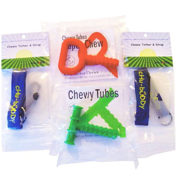 chubuddy Chewy Holders (2 Navy Tethers and 2 Natural Straps)  Combo Pack WITH Chewy Tube tm and Super Chew tm INCLUDED