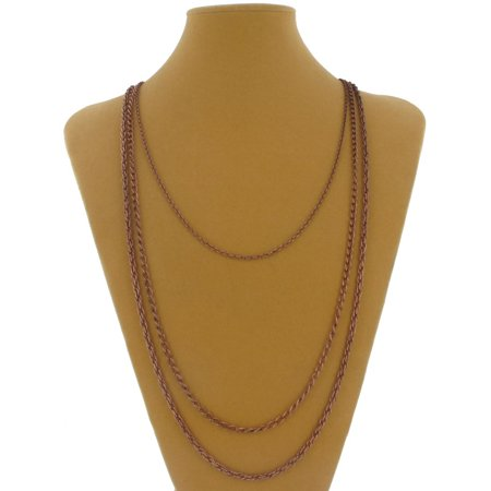 - Copper Ox Tone 3 Strand Layered Mixed Chain Necklace