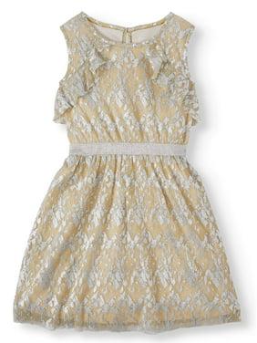 Wonder Nation Lurex Shine A-Line Holiday Christmas Dress (Little Girls, Big Girls & Plus)