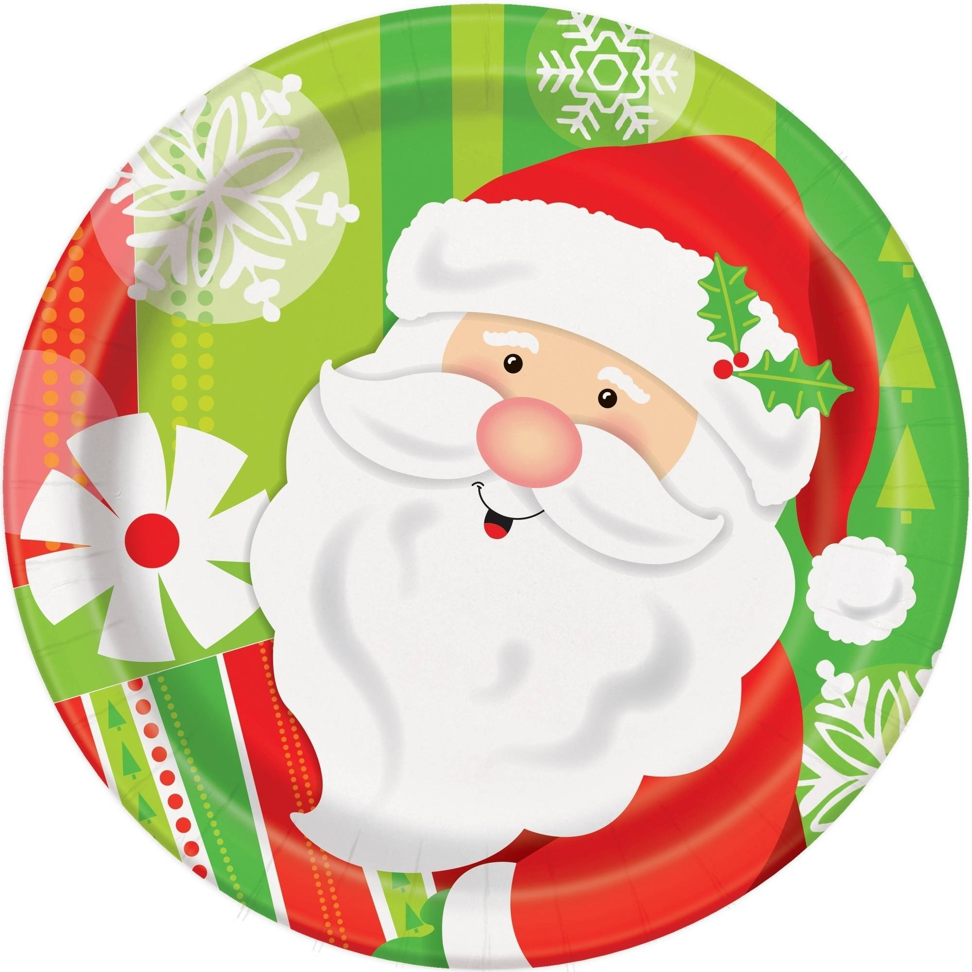 "7"" Happy Santa Christmas Party Plates, 8-Count"