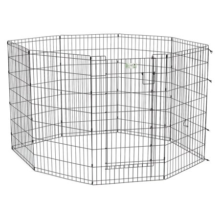 Proselect Exercise Pen - MidWest 8 Panel Black Exercise Pen with MAX Lock Door