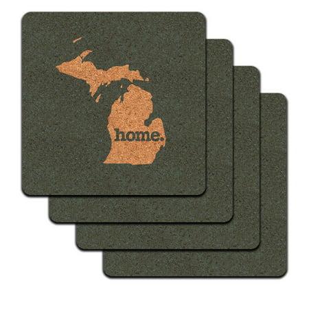 Michigan Mi Home State Low Profile Cork Coaster Set   Solid Denim Blue