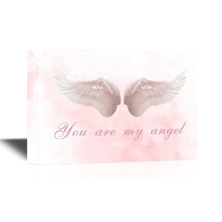 wall26 Wings Series Canvas Wall Art - Two Feather Wings with You are My Angel Quotes - Gallery Wrap Modern Home Decor | Ready to Hang - 12x18 inches