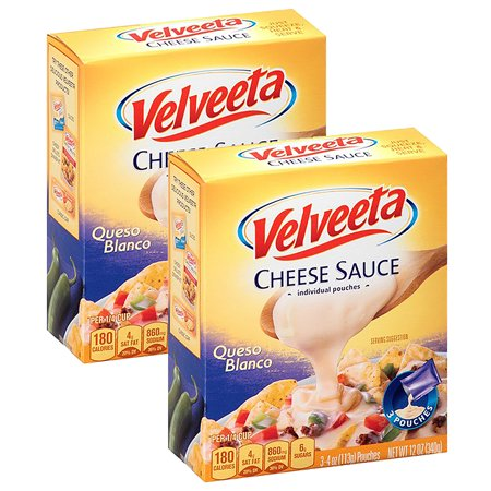 (2 Pack) Velveeta Queso Blanco Cheese Sauce, 3 - 4 oz Pouches - Nacho Dip Halloween