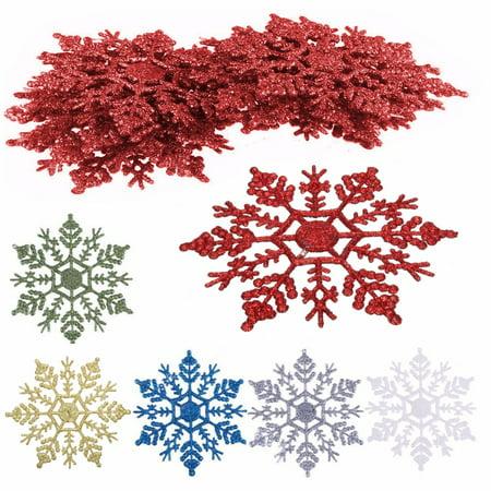12-Pack Plastic Glitter Snowflakes Christmas Tree Hanging Decor Christmas Home Ornament (Plastic Snow Flakes)