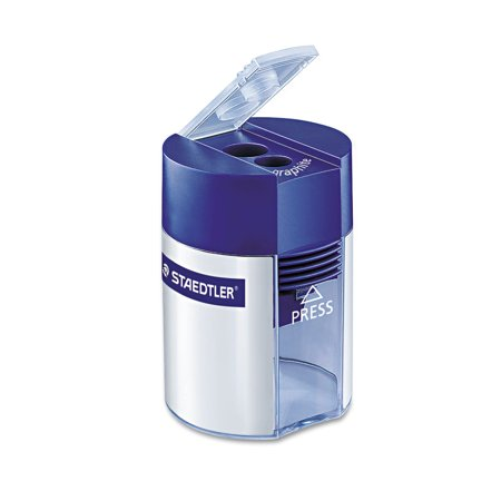 Handheld Manual Double-Hole Cylinder Pencil Sharpener, Blue/Silver](Handheld Pencil Sharpener)